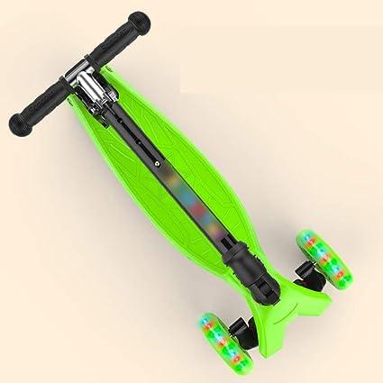 Patineta Scooter Infantil de Cuatro Ruedas Flash Scooter Scooter Plegable Scooter Ajustable Adecuado para niños de