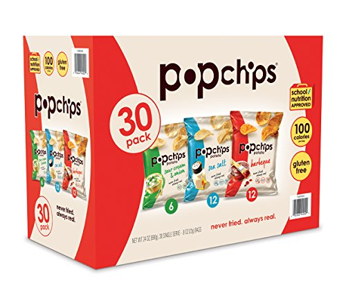 - Popchips Potato Chips Variety Pack Single Serve 0.8 oz Bags (Pack of 30), 3 flavors: 12 Sea Salt, 12 BBQ, 6 Sour Cream & Onion