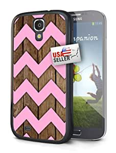Chevron Wood Pink Design Black Plastic Cover Case for Samsung Galaxy S4 MINI