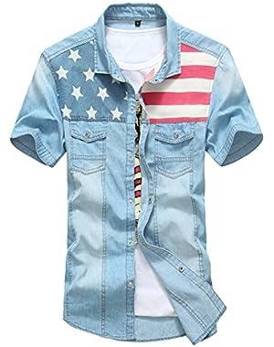 Fashion Men's Short Sleeve Casual Soft-Wash Denim Shirt