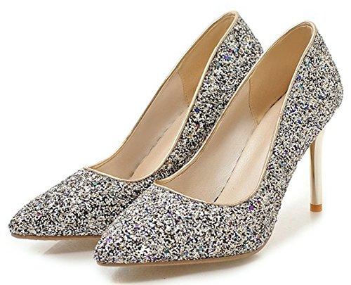 Idifu Damesmode Glitter Lage Top Slip Op Puntschoen Stiletto Hoge Hakken Bruids Pumps Schoenen Blauw
