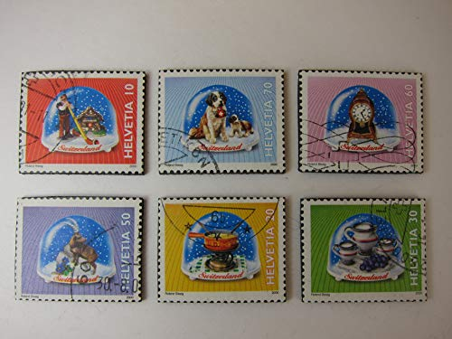 Snow Globe Magnets Recycled Postage Stamps - Set of 6 Fridge Magnets Item#R153