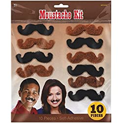 "Amscan High Riding Western Party Western Mustaches Accessory, Fabric, 3"" x, Pack of 10"