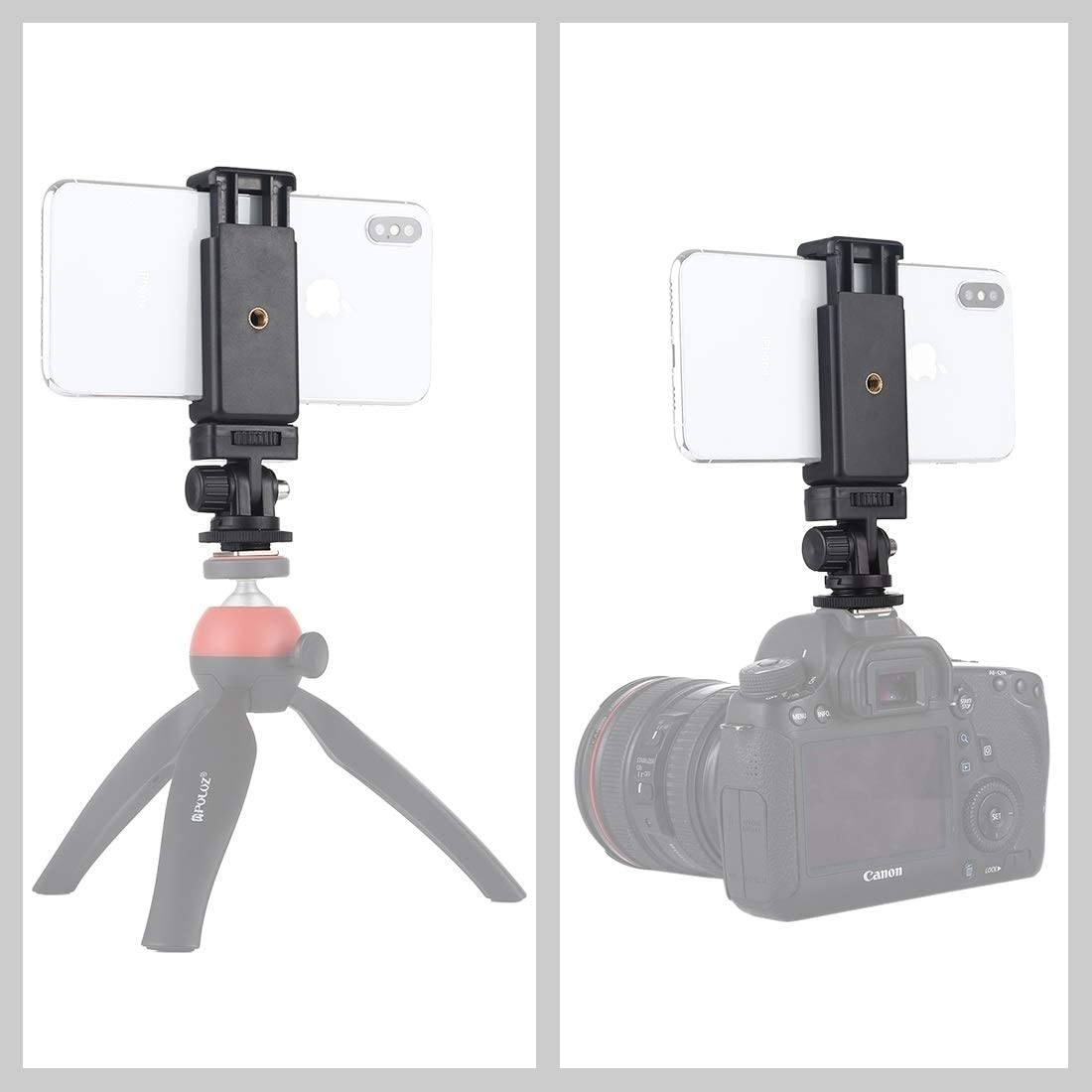 1//4 inch Screw Thread Cold Shoe Tripod Mount Adapter with Phone Clamp Durable