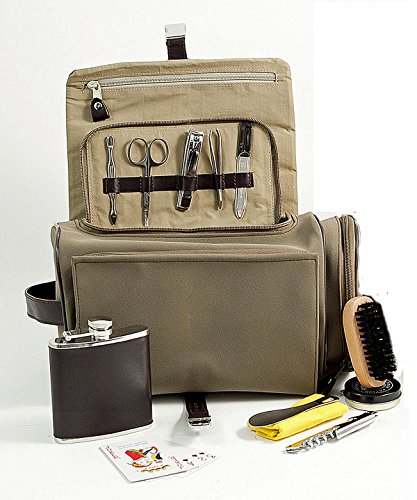 Mens Gifts - Mens Grooming & Survival Set in Ultra Suede & Brown Leather - Mens Accessories - Deluxe Dopp Kit by KensingtonRow Home Collection