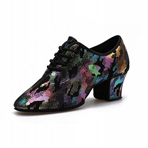 BYLE Sandalias de Cuero Tobillo Modern Jazz Samba Zapatos de Baile Zapatos de Baile Latino de Zapato de Baile de Adultos 35
