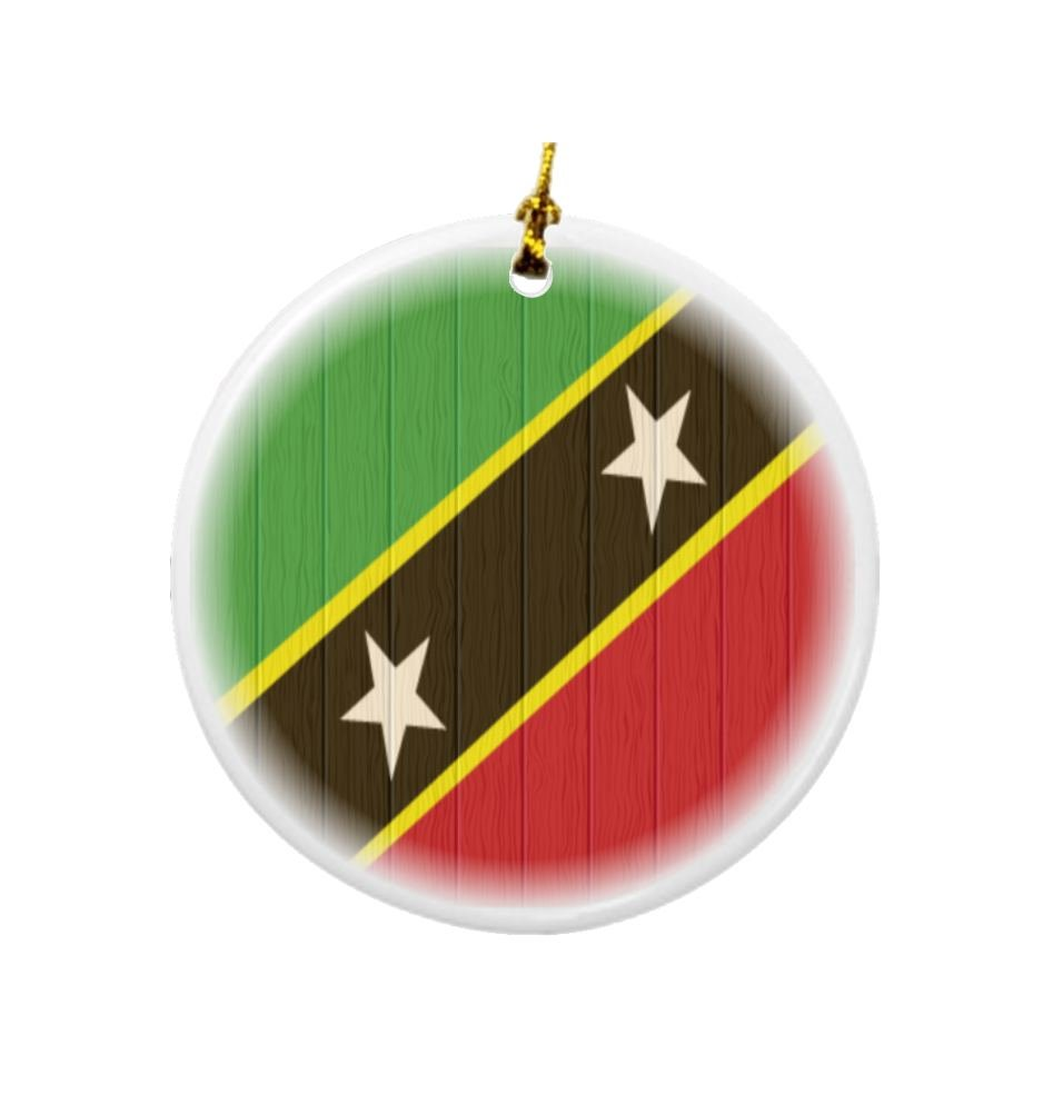 Rikki Knight Saint Kitts and Nevis Flag on Distressed Wood Design Round Porcelain Two-Sided Christmas Ornaments