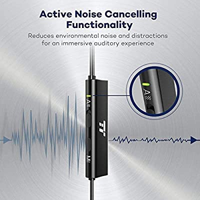 TaoTronics Active Noise Cancelling Headphones Wired Earbuds in Ear Stereo Awareness Monitor