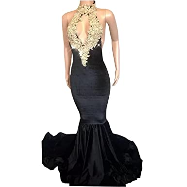 Chady Sexy Halter Mermaid Prom Dresses 2018 Gold Appliques Backless Navy Blue Evening Dresses Party Gown