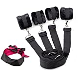 waterlan Under Bed Bondage Restraint System Fantasy Blindfold Eye Mask With Adjustable Fur Hand Wrists Cuffs Ankles Cuffss Belt Fit Any Size