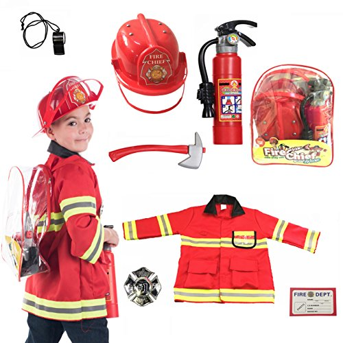 Fireman Costume ((8 PC) Premium Fireman Costume and accessories With Real Water Shooting Extinguisher and Knapsack by Born Toys)