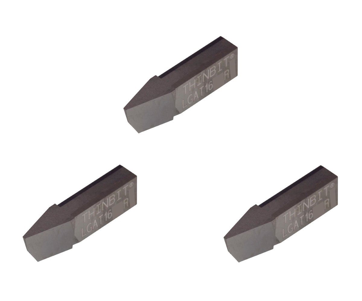 Uncoated Carbide Acme Threading Insert for 16 TPI in Steel cast Iron and Stainless Steel with Interrupted cuts. THINBIT 3 Pack LGAT16D2R L Series