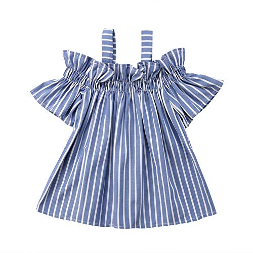 Sainsbury's Baby Clothes Halloween (dextrad dresses Girls Dress Spaghetti Strap Short Sleeve Striped Dress Loose Dress Outfit Holiday Party Dress Blue)