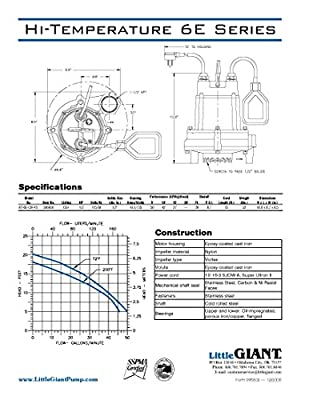 Little Giant 506600 HT-6E-CIA-FS 115 Volts 3000 GPH High-Temperature Sump/Effluent Pump