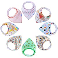 8-Pack YOOFOSS Baby Bandana Bibs for Boys and Girls, Drool Bibs for Toddler Teething