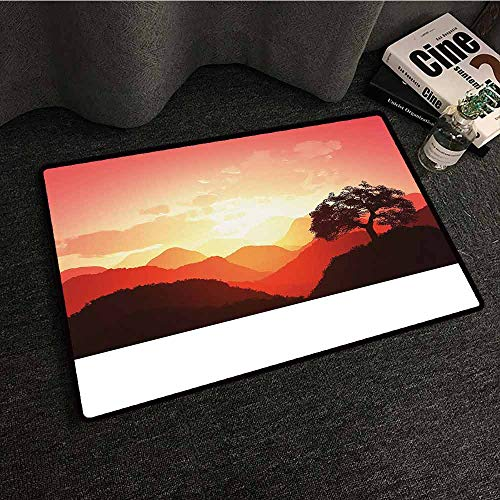- DuckBaby Welcome Door mat Mystic Magical Oriental Sunset View with Tree and Mountains Mystique Hills Quick and Easy to Clean W31 xL47