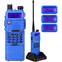 NKTECH UV-5R Plus VHF/UHF Tri-Power High Mid Low 8W/4W/1W Dual Band 136-174/400-520MHz Ham Two Way Radio Walkie Talkie With BL-5L 3800mAh 7.4V Liion Battery Accessories Blue