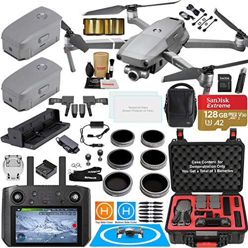DJI Mavic 2 Zoom Drone Quadcopter with DJI Smart Controller (W/Touch Screen Display) and Fly More Kit Combo Bundle; Comes w/ 3 Batteries, Zoom Camera, Rugged Carry Case & Must Have Accessories