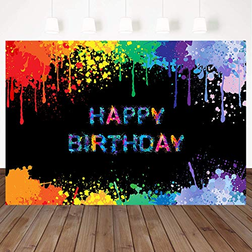 Mehofoto Glow Splatter Backdrop Happy Birthday Photography Background 7x5ft Vinyl Colorful Graffiti Birthday Party Banner Decoration Neon Paint Photo Booth Backdrops