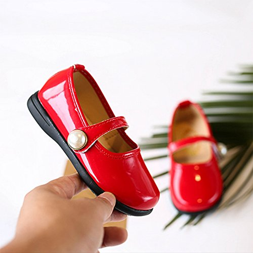 Toddler Girl Patent Leather Pearls Mary Jane Princess Dress Shoe Ballerina Flats Red Size 29 by LINKEY (Image #4)
