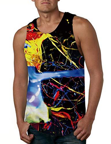 Cutemefy Mens Tank Top Cool Paint All-Over Graphics Sleeveless Tee Top Fashion Design Pattern Garment Tank -