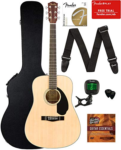 (Fender CD-60S Dreadnought Acoustic Guitar - Natural Bundle with Hard Case, Tuner, Strap, Strings, Picks, Fender Play Online Lessons, and Austin Bazaar Instructional)