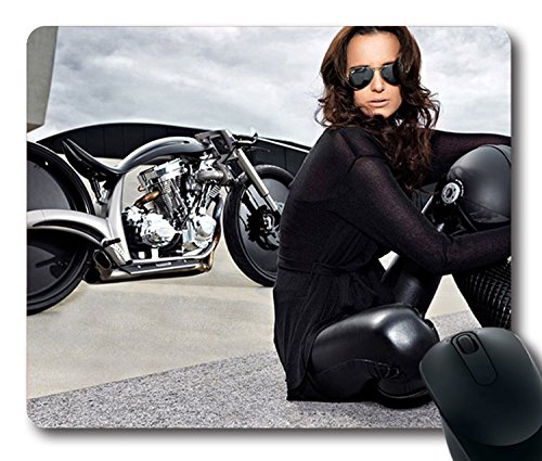 Hot Sale Custom Sexy Girl Mouse Pad with Brunette With Sunglasses Non-Slip Neoprene Rubber Standard Size 9 Inch(220mm) X 7 Inch(180mm) X 1/8 Inch(3mm) Mouse - Sunglasses Brunette