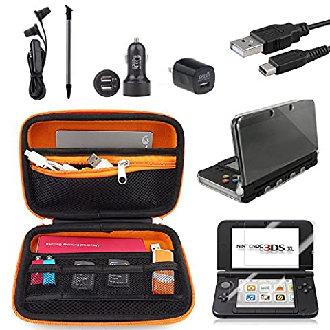 EEEKit for Nintendo 3DS LL / XL Travel Accessories Kit, Carrying Bag,Clear Cover Case, Charging Cable, Car Charger, Stylus, Screen Protector, (3ds Xl Charging Case)