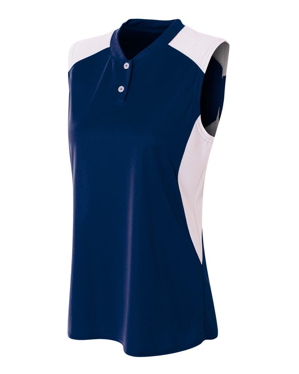 レディースノースリーブ2ボタンMoisture Wicking 2色アスレチックシャツ/ Uniform Jersey Top B01IC9PGSG Women's M|ネイビー/ホワイト ネイビー/ホワイト Women's M