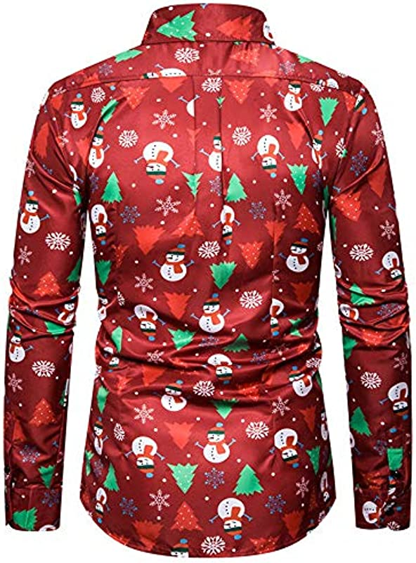 SALEBLOUSE męska koszulka z długim rękawem na Boże Narodzenie, bałwanek, nadruk z guzikami, rewersy, koszule męskie, lekki wzÓr kwiatowy, koszulka, top, bluza z dzianiny, outwear cardigan p&
