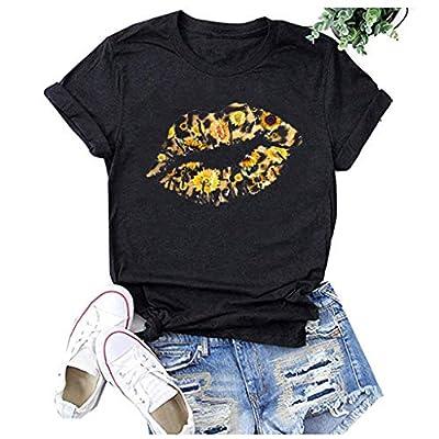 Winsummer Women Short Sleeve Sunflower T-Shirt Cute Funny Lips Graphic Tee Shirts Short Sleeve T Shirt Top: Clothing