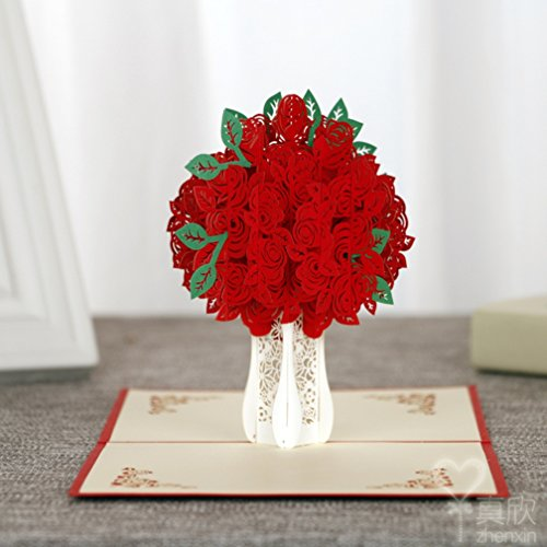 3D Pop Up Cards Creative Paper craft Greeting Cards for Every Occasion (Red Roses 15cm 15cm)