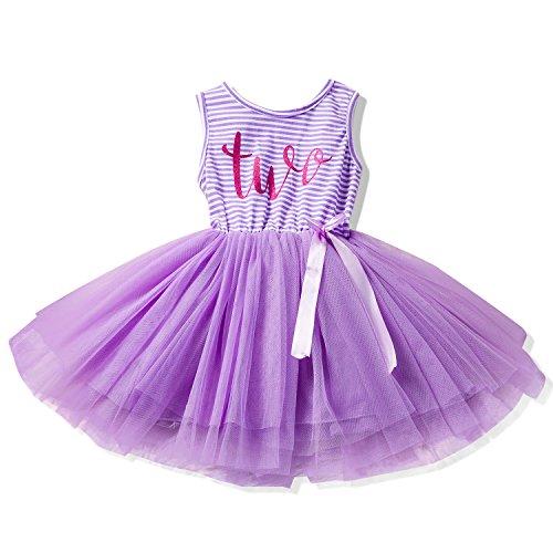 NNJXD Girl Shinny Stripe Baby Girl Sleeveless Printed Tutu Dress Size (90) 13-24 Months Purple