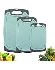 Cutting Boards Kitchen Cutting Board (3-Piece Set) Chopping Boards- Plastic Cutting Boards Set, Juice Grooves, BPA-Free and Dishwasher Safe (Blue)
