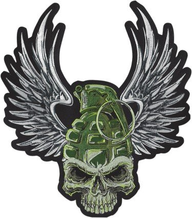 - Lethal Threat Unisex-Adult Large Embroidered Patch (Grenade Skull) (Black, Fits within a 12