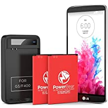 PowerBear 2X Phone Battery Replacement for LG G3 [3,000 mAh] with LG G3 Spare Battery Charger | LG G3 Battery | LG G3 Spare Battery & LG G3 Replacement Battery Kit [24 Month Warranty]