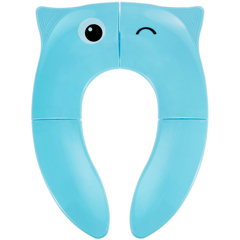 Lictin Foldable Potty Toilet Training Seat - Portable Travel Potty Training Seat for Toddler, Baby Toilet Seat Covers Liners with 4 Non-slip Pads(Owl Design, Blue)