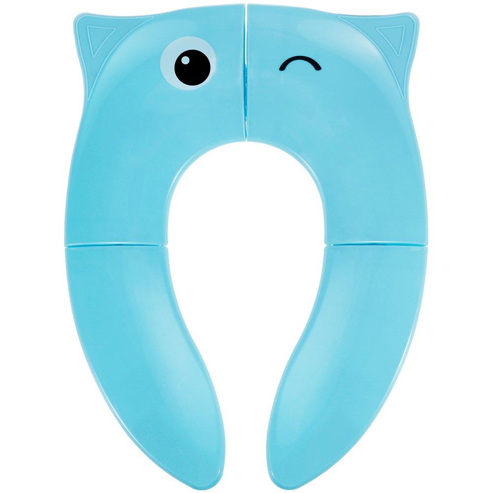 Lictin Nueva versión Asiento de inodoro plegable portátil de viaje Tocador para bebé y tocador con 4 almohadillas antideslizantes para niños con un bolso (diseño de búho, azul)