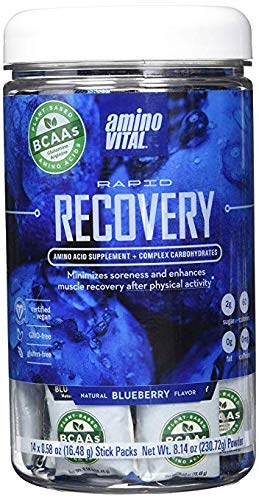 Amino VITAL Rapid Recovery - Fermented Vegan BCAAs Amino Acid Powder + Complex Carbohydrates | BCAA, Glutamine & Arginine in Single Serve Packets | Reduce Muscle Soreness | 14 Servings, Blueberry (Fast Recovery Bcaa)
