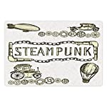 Ambesonne Sketchy Pet Mat for Food and Water, Balloon Antique Cars Design with Words in Middle Saying Steampunk, Rectangle Non-Slip Rubber Mat for Dogs and Cats, Ivory Dark Olive Green 5