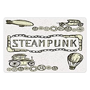 Ambesonne Sketchy Pet Mat for Food and Water, Balloon Antique Cars Design with Words in Middle Saying Steampunk, Rectangle Non-Slip Rubber Mat for Dogs and Cats, Ivory Dark Olive Green
