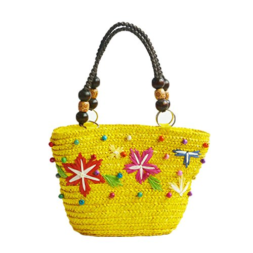Paper Shoulder Crochet Pink1 Beach Rope Bag Hollow Bag Bag Fashion Straw Yellow MYLL Purse Summer Bag Woven Bohemia Style Handbag qYwIESR