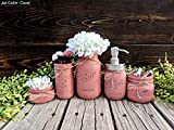Mason Canning Jars. Mason Jar Bathroom Set With 5 Ball Jars, Including A Soap Dispenser. Distressed Rustic Bathroom Organization.