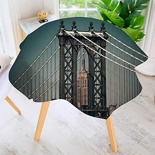 aolankaili Circular Solid Polyester Tablecloth-Scenery City Lights View with Bridge Empire State Building Skyscrapes Black for Wedding Restaurant Buffet Table Decoration 71