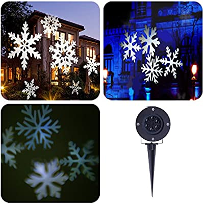LIGHTESS Christmas Lights Xmas Snowflake Decorations Outdoor LED Light Projector Waterproof Moving Projection Light Indoor Decor for Holiday Party Landscape Garden Decoration, Cool White
