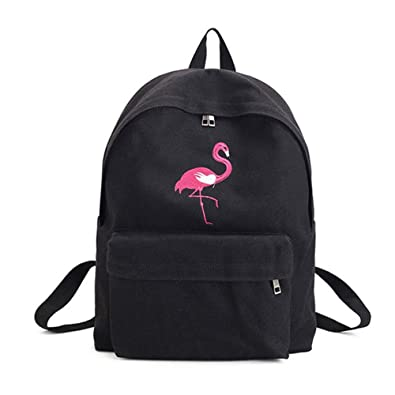 93d588c750ae VHVCX Fashion Flamingo Embroidery Women Backpack Canvas School Bag For Teenage  Girls Travel Big Student Bags Female Backpacks