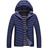 Winter Lightweight Warm Cotton Padded Jacket with Detachable Hood for Mens Navy Blue US Size XS