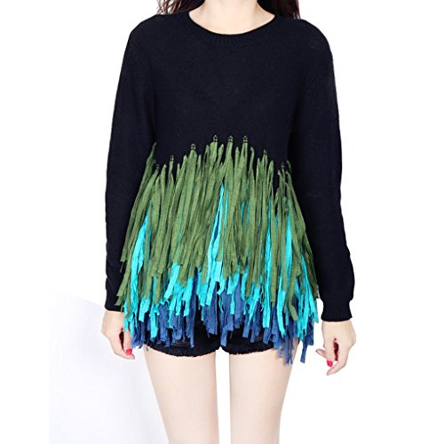 Women Tassel Personality Oversized Sweaters Pullovers Tops