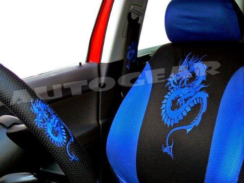 13pc BLUE Car seat cover mat steering wheel glove belt pad set Dragon custom NEW