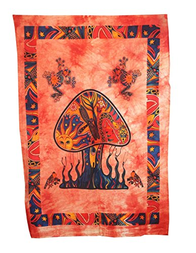 (Psychedelic Mushroom Tapestry Frogs Magic Shrooms Tapestry Dorm Tapestry Hippie Tapestry Wall hanging Fantasy Bohemian Poster Trippy Animal Wall Art SOLD by radhykrishna fashions (Multi Color))